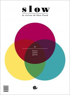 "Slow (Italy) Ace coverdesign SLOW: ""the official magazine for the international association SlowFood. it talks about local food excellence, environment responsability and good life. Magazine Cover Design, Magazine Covers, Magazine Editorial, Event Organization, Slow Food, Abstract Shapes, Book Cover Design, Shape Patterns, Editorial Design"
