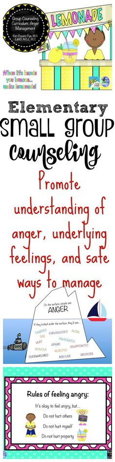 Elementary Small Group Counseling Curriculum for Anger Management from The Counselor's Corner