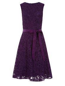 Purple Lace Prom Dress