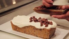Carrot Cake Loaf with a decedent cream cheese icing. Carrot Cake Loaf, Cake Day, Celebrity Chef, Cream Cheese Icing, How To Take Photos, Food Videos, Banana Bread, Carrots, Cake Recipes