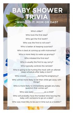 A Simple And FUN Baby Shower Trivia Game!