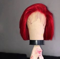 Straight Short Bob Wigs with Baby Hair Red Human Hair Lace Wigs Red Ombre Hair, Dyed Red Hair, Red Hair Color, Hair Colors, Color Red, Pink Wig, Curly Hair Styles, Natural Hair Styles, Hair Extensions Best