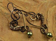 Wire Wrapped Earrings Antique Earrings Heart by ccjewelrydesign, $22.00