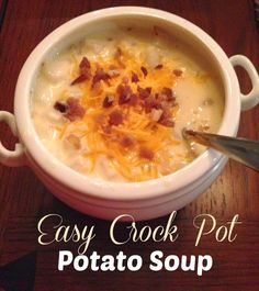 Simply Made...with Love: Easy Crockpot Potato Soup Made this today and it is wonderful! I used real bacon and shredded hashbrowns. Can make it in less time on high.