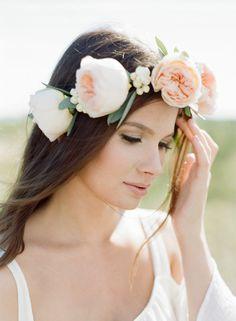 large flower blooms headband for wedding