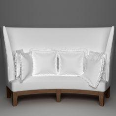Curved High Back Sofa 3D Model (.3ds, .fbx, .max, .obj, .tex, .jpg, .bmp, .etc) by 3dfurniture