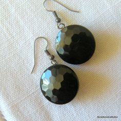 Earrings Black Antique Glass ButtonGlossy by StoneBoneAndButton, $21.00
