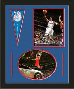 Two framed 8 x 10 inch Los Angeles Clippers photos of Chris Paul (including one HORIZONTAL photo framed in an oval) with a Los Angeles Clippers mini pennant, double matted in team colors to 16 x 20 inches.  The lines show the bottom mat color.  The oval photo will be cropped to fit.  (Pennant design subject to change)  $79.99 @ ArtandMore.com