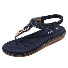 Oferta: 43.99€ Dto: -43%. Comprar Ofertas de ZOEREA Sandalias Mujer Bohemia Flat Verano Sandals PU Flip-Flops de cuero barato. ¡Mira las ofertas!