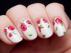 Sweet Red Rose Floral Print | Chalkboard Nails | Nail Art Blog