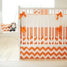 Orange Chevron Crib Skirt, Chevron Crib Skirt, Chevron Crib Skirt Orange