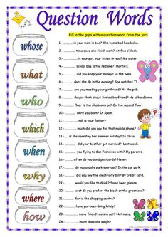 Sts fill in the gaps with the correct question Word. On the second page they choose the correct option. Teaching English Grammar, Grammar Lessons, English Language Learning, English Writing, English Words, English Lessons, English Vocabulary, English Worksheets For Kids, English Activities