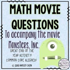 Math Movie Questions to accompany the movie... by Hayley Cain - Activity After Math | Teachers Pay Teachers