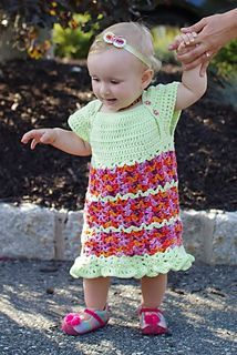"This is a free crochet pattern for a cute crochet baby dress. I originally designed this dress for Crochet One Skein Wonders Baby Book, but it was sized for newborn and 3 months old only. My almost-one-year-old baby girl really ""needed"" a crochet dress (yes, I have a problem, I can't stop crocheting for her ;)), so I sized it up to fit 9-12 month old as well."