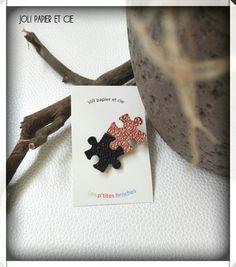 broche puzzles, en simili cuir noir et or rose : Broche par joli-papier-et-cie