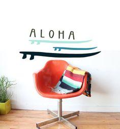 Surfer Baby Aloha Decal Longboard Beach Nursery by 3rdAveShore