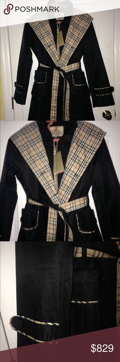 NWT Burberry Women Trench Rain Coat Black Sz L NWT Burberry Women Trench  Rain Coat Black Check Sz L US Shoulder to shoulder 15.25 Under arm to under arm 19 Arm Length 24 Length 33 Burberry Jackets & Coats Trench Coats