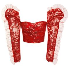 Rodarte Puff Shoulder Ruched Blouse ($2,070) ❤ liked on Polyvore featuring tops, blouses, red, ruched blouse, sweetheart blouse, sweetheart top, red sweetheart top and puff sleeve blouse