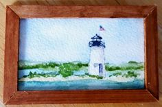 Original Miniature Painting in Watercolor - Ladies Delight - Maine by ImaginIt43 on Etsy