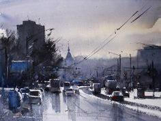 Wet Day Chisinau by Eugen Chisnicean Watercolor ~ 45cm x 60cm