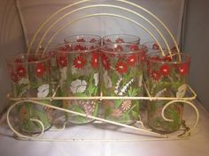 Swanky Swigs Mid Century Glass Tumbler set in Wire Rack Floral Design