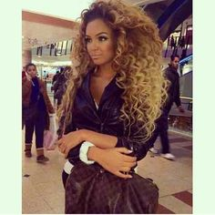 Beyoncé Inspired Big Curly Hair Brown Blonde Beautiful Pretty Girl Louis Vutton Handbag Designer Fashion