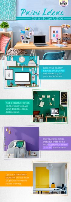 Here are some awesome tricks to help you design your home office. For more help with picking paint and painting your space right, #BergerXP experts. #HomePaint #Home #HomeLove #PaintIdeas