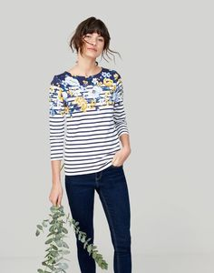 Buy Joules Harbour Print Jersey Top from the Next UK online shop Breton Top, Girls Rain Boots, Joules Clothing, Floral Stripe, Women Brands, Capsule Wardrobe, Clothes For Women, My Style, How To Wear