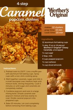 Easy prep and quick cook time make caramel popcorn clusters a crowd pleaser. The crunchy popcorn, cashews, and almonds with the chewy caramel make these the best homemade sweet and salty snack. Popcorn Recipes, Candy Recipes, Sweet Recipes, Popcorn Snacks, Popcorn Balls, Appetizer Recipes, Snack Recipes, Cooking Recipes, Appetizers