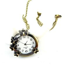 Pocket Watch Charm  Antique Brass Butterfly B042 by ministore, $3.95