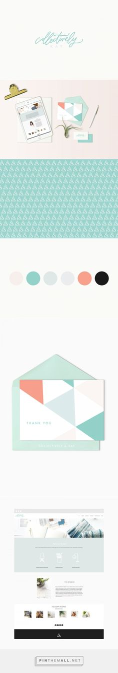Collectively Kay branding by Cristina Martinez  The main goal of the website was for it to be bright, accessible and user-friendly. The palette features a bright teal that runs through out each of the elements, combined with a hand-lettered logo and a minimal geometric design.