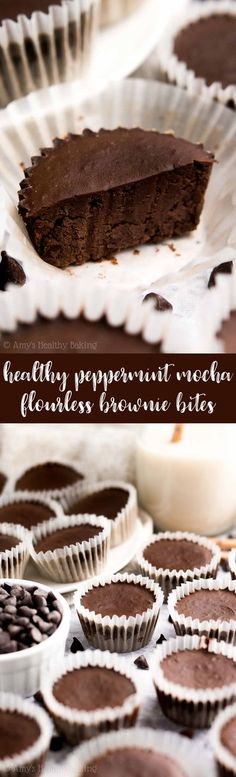 {HEALTHY!} Flourless Peppermint Mocha Brownie Bites -- only 23 calories & SO fudgy!! Literally like eating pieces of fudge! I'm totally obsessed with this easy recipe! A total keeper... And perfect for the holidays too! #healthy #recipe #glutenfree #lowcarb #cleaneating