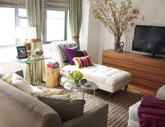 """1. Splurge on a Couple of Forever Pieces    """"Whether you're living in a dorm room or in your first apartment, resist that transient feeling,"""" says Berkus. """"Save up for one or two pieces that you will still love in 10 years. You'll have a space that you'll want to live in, not just a place to change clothes and sleep."""" Marni's couch, which she's had for years, is a good example."""