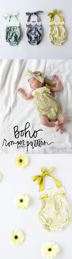 51 Things to Sew for Baby - Boho Baby Romper - Cool Gifts For Baby, Easy Things To Sew And Sell, Quick Things To Sew For Baby, Easy Baby Sewing Projects For Beginners, Baby Items To Sew And Sell Baby Sewing Projects, Sewing Projects For Beginners, Sewing For Kids, Sewing Tips, Sewing Basics, Sewing Ideas, Sewing Hacks, Free Sewing, Sewing Tutorials