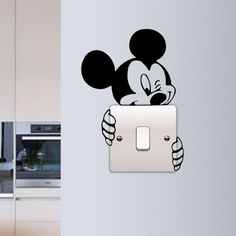 G Gallery Home Decor Mickey Mouse Wall Sticker Switch Vinyl Decal Funny Lightswitch Kids Room DIY in Home Furniture & DIY Home Decor Wall Decals & Stickers Simple Wall Paintings, Wall Painting Decor, Diy Wall Decor, Wall Art, Painting Furniture, Paintings For Kids Room, Diy Painting, Bedroom Furniture, Creative Wall Painting