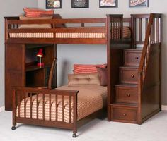Student Cherry Loft Bed w/ Stairs - Puritan Juvenile Furniture-Rocky Hill