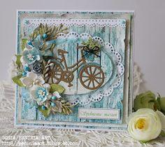 Karteczka z rowerkiem na urodziny...z nowych papierów UHK Gallery... które mnie oczarowały... Karteczkę zgłaszam na wy...