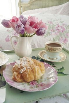Relaxing in the morning with pretty china, great pastry and a perfect cup of tea.