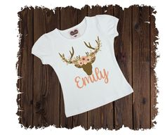 Floral Deer Personalized Custom Printed T-Shirt - Available in Long or Short Sleeves Boutique Shirts, Size Chart, Deer, Short Sleeves, T Shirts For Women, Printed, Sewing, Floral, Cotton