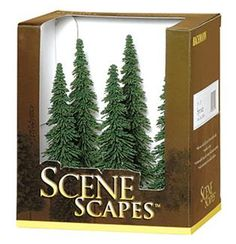 Bachmann Scene Scapes 5 to 6 Inch Spruce Trees, Pkg. of 6