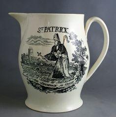 Creamware jug with a print of St. Patrick, circa 1790