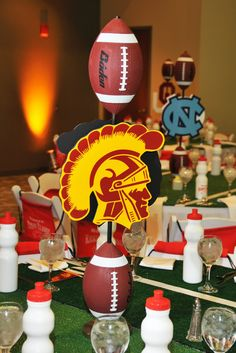 Football Party Decoration Ideas Elegant Setting the Mood Bar Mitzvah Football Centerpieces, Football Party Decorations, Banquet Centerpieces, Football Themes, Football Banquet, Football Stuff, Football Decor, Football Parties, Football Crafts