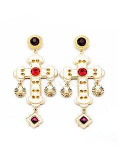 Gold Cross Rhinestone Metal Great Fashion Earrings for Women