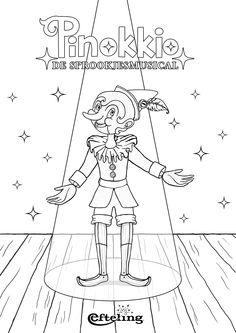 Sprookjesmusical Pinokkio kleurplaat.