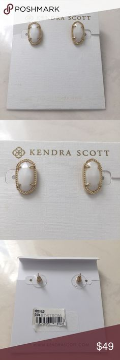 NWT Kendra Scott Ellie Gold & White Pearl Earrings Re-posh and HTF. I love these, but think the Lee earrings would look better on me with the Elisa necklace. No dustbag. Not been tried on, I just put them up to my ear to see how they would look! I did notice the backs are a little bent but it doesn't affect anything 🚨 Look closely at the photos to know what exactly you are receiving and the condition that it's in! Smoke/Pet free home. Bundle 2+ of my items to save 15%. I do not trade or…