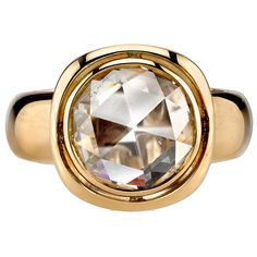 Diamond Jewelry - JK/SI Rose cut diamond set in a handcrafted yellow gold mounting. Smooth lines, bold metal, and unique airline space give this ring a contemporary yet classic look. Rose Cut Diamond, Diamond Rings, Diamond Jewelry, Ruby Rings, Fashion Jewelry Necklaces, Jewelry Rings, Jewellery, Vintage Engagement Rings, Diamond Engagement Rings