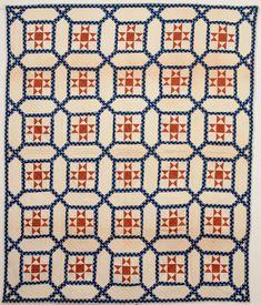 Garden Maze Quilt with Evening Stars: Circa 1870