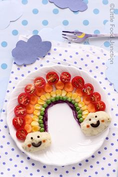 Arco iris divertida comida para niños infantil saludable healthy fun food for kids Rainbow