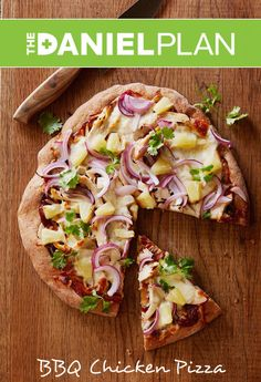 BBQ Chicken Pizza - The Daniel Plan Cookbook... We ate this tonight and seriously it was one of the best pizzas we've ever had.