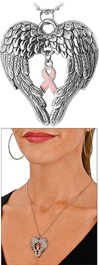 In memory of my dear friend Lori. (I miss you sista) Wings of an Angel Pink Ribbon Necklace Ribbon Jewelry, Ribbon Necklace, Breast Cancer Survivor, Breast Cancer Awareness, Leukemia Ribbon, Types Of Girls, Close To My Heart, Girly Girl, Pretty In Pink